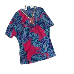 LILLY PULITZER BELTED BEADED KAFTAN L